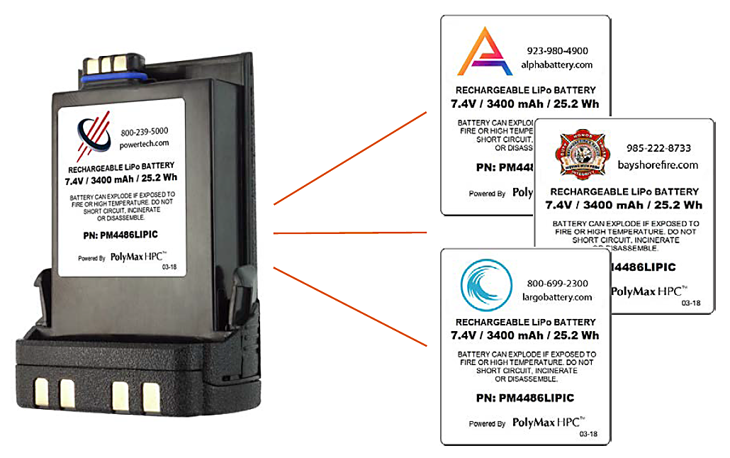 Custom battery and label printing for two-way radio