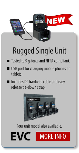 single unit rugged vehicular radio charger