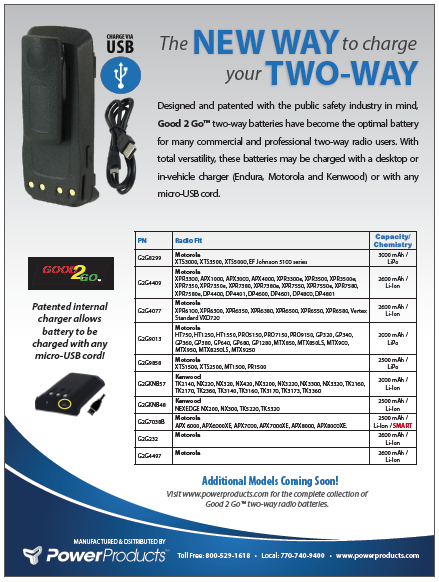 two way radio good to go battery brochure