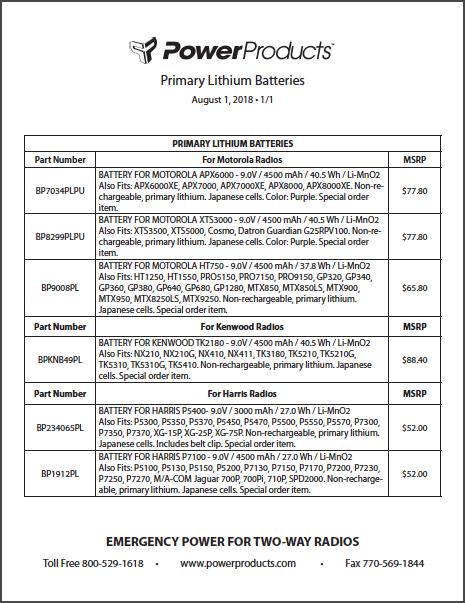 primary lithium radio battery